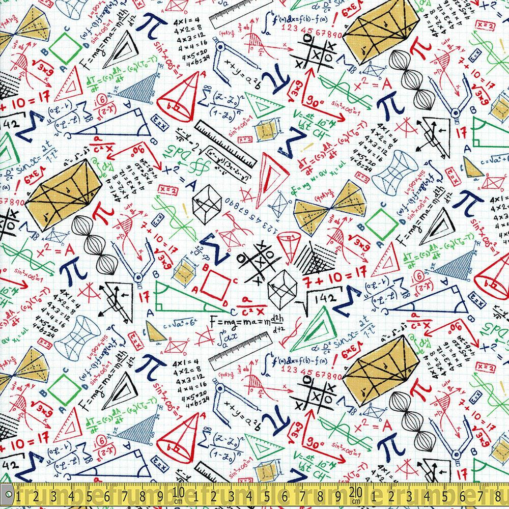 Timeless Treasures - Maths Doodles in Grid White Sewing Fabric
