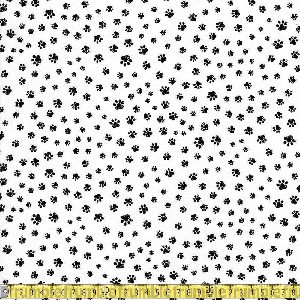 Timeless Treasures - Pet Sketch - Sketched Paw Prints White Sewing Fabric