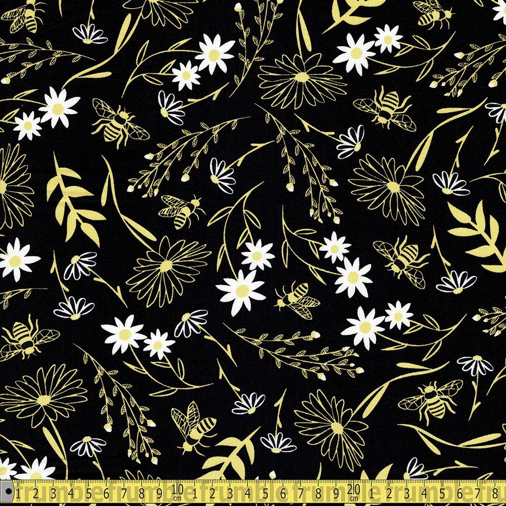 Timeless Treasures - Save The Bees - Large Florals Black Sewing Fabric