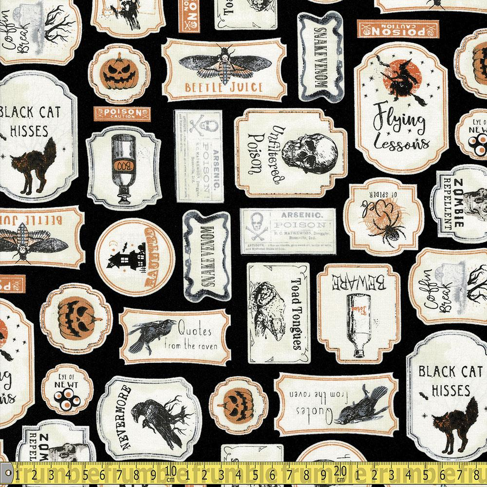 Antique Halloween Signs Black Fabric by Timeless Treasures