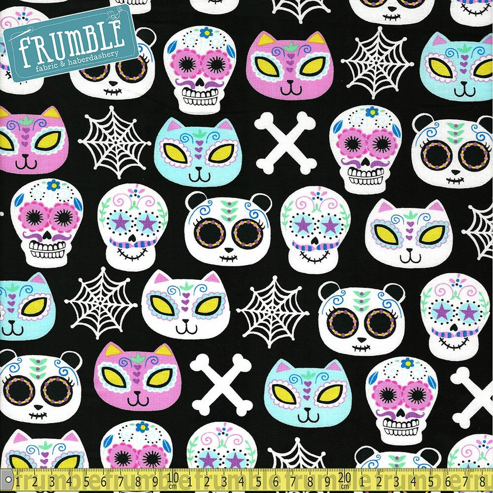 Cats And Bears Sugar Skulls Multi Fabric by Timeless Treasures