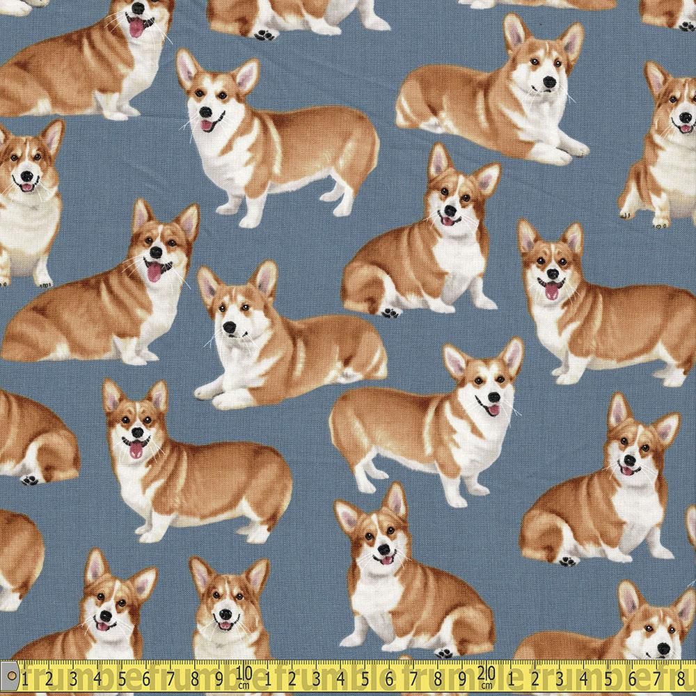 Corgis Grey Fabric by Timeless Treasures