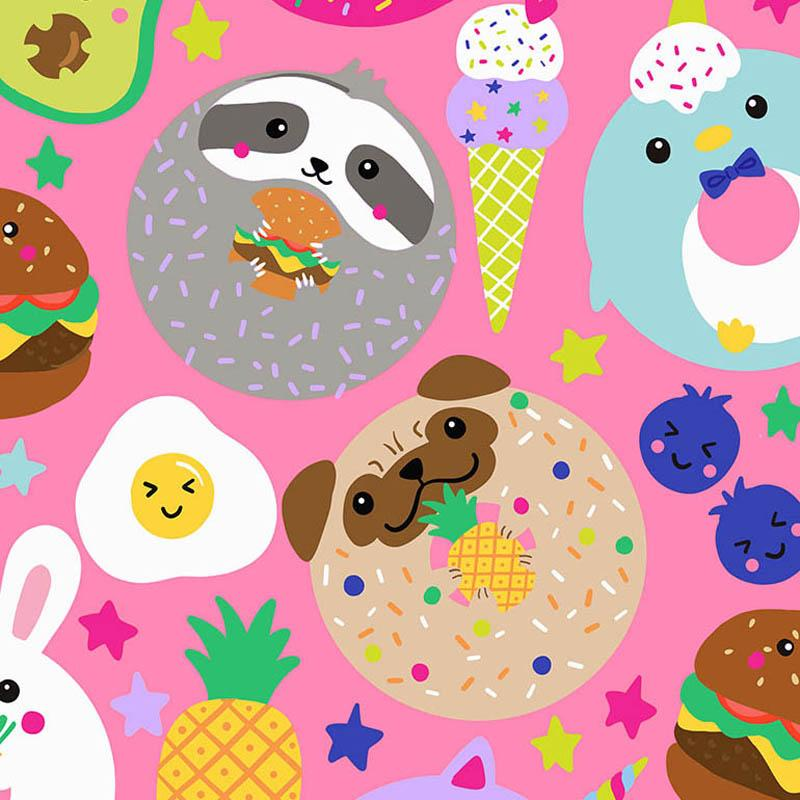 Cute Foods and Animals Pink Fabric by Timeless Treasures