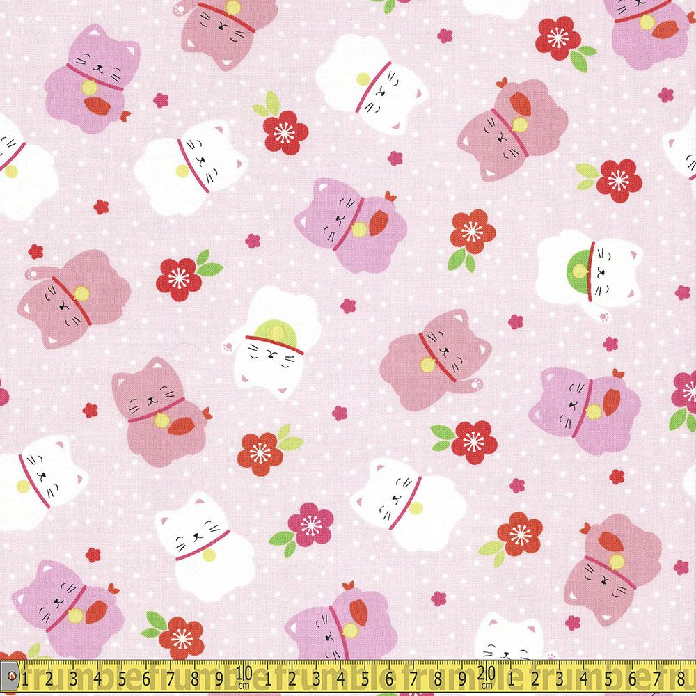 Cute Tossed Japanese Cats Pink Fabric by Timeless Treasures