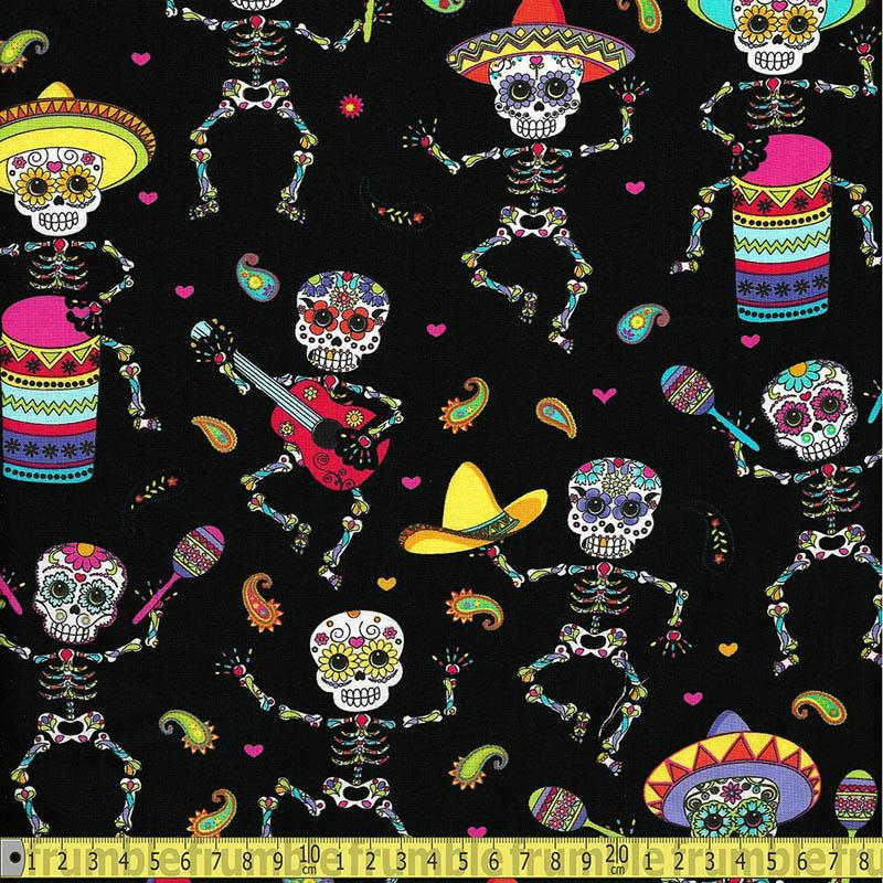 Dancing Day of the Dead Bright - Frumble Fabrics
