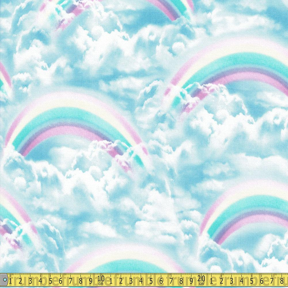 Double Rainbow Skies Blue Fabric by Timeless Treasures