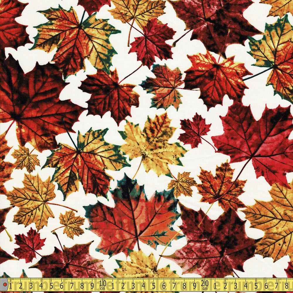 Fallen Autumn Leaves Multi Fabric by Timeless Treasures