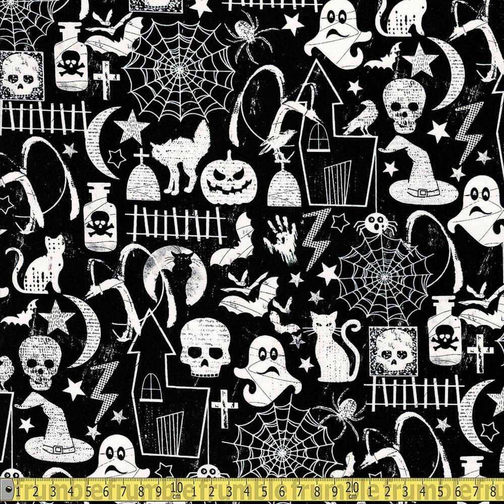 Glow In The Dark Halloween Motifs Black - Frumble Fabrics