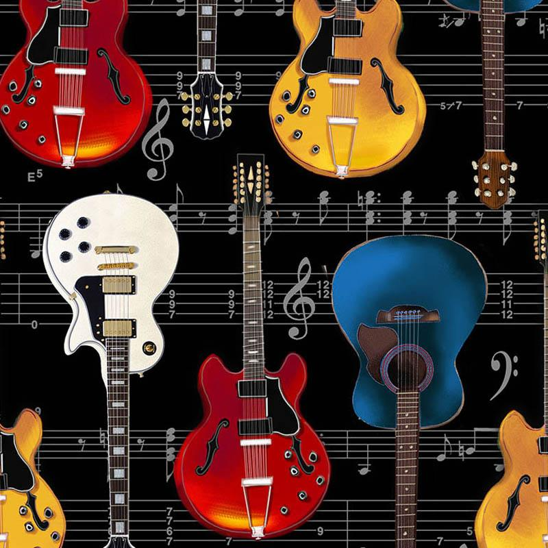 Guitars and Sheet Music Black Fabric by Timeless Treasures