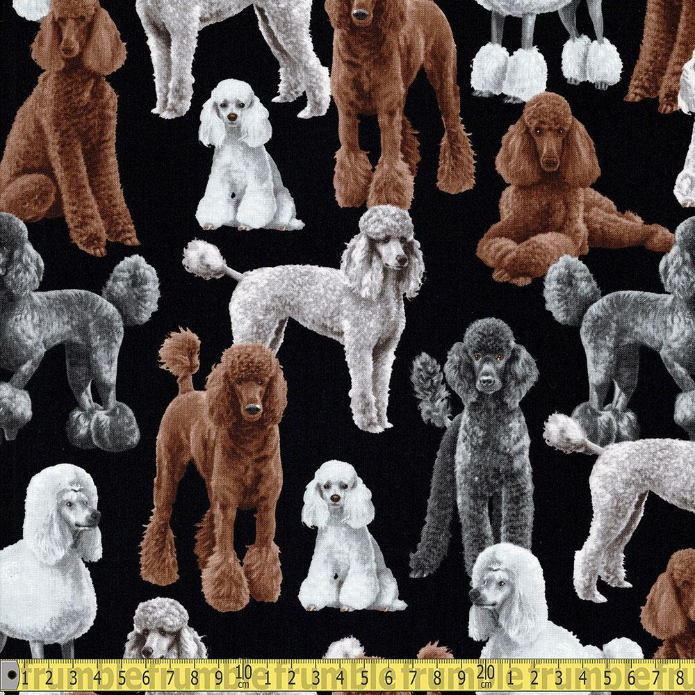 Poodles Black Fabric by Timeless Treasures