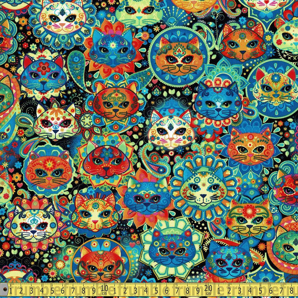 Rainbow Cat Sugar Skulls Multi Fabric by Timeless Treasures
