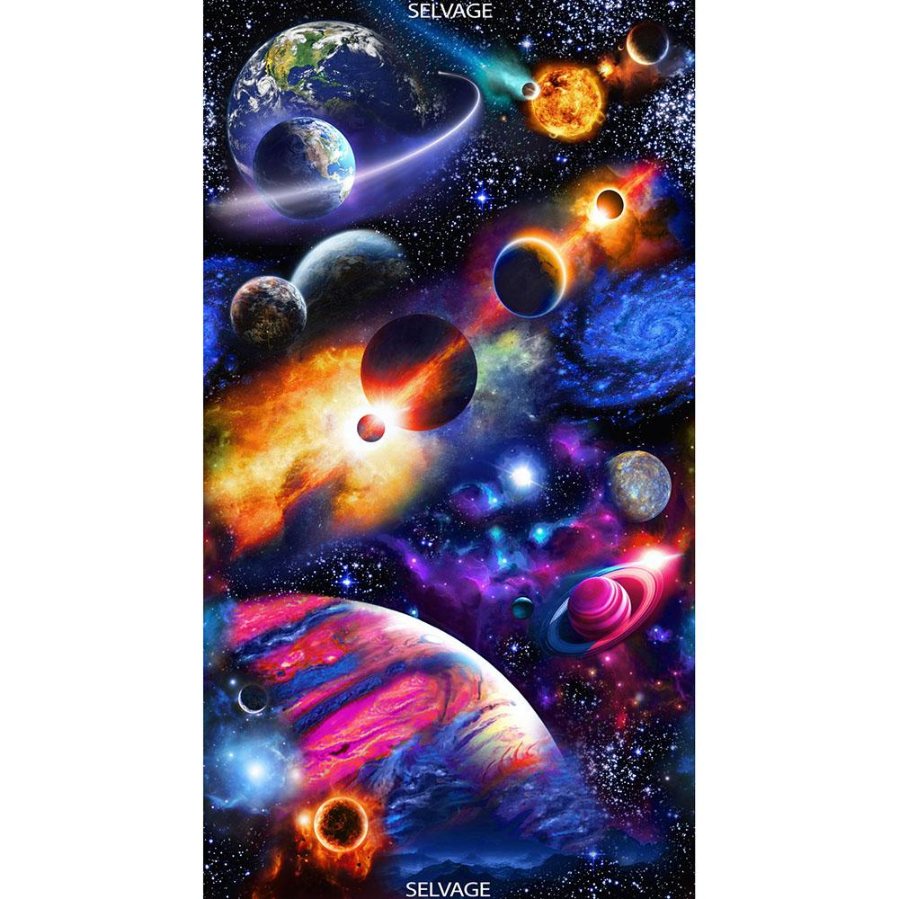 Solar System Panel Midnight - Frumble Fabrics