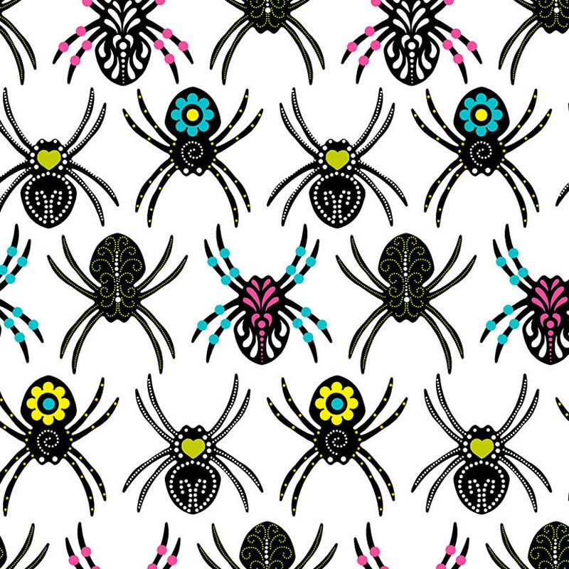 Sugar Skull Spiders White Fabric by Timeless Treasures