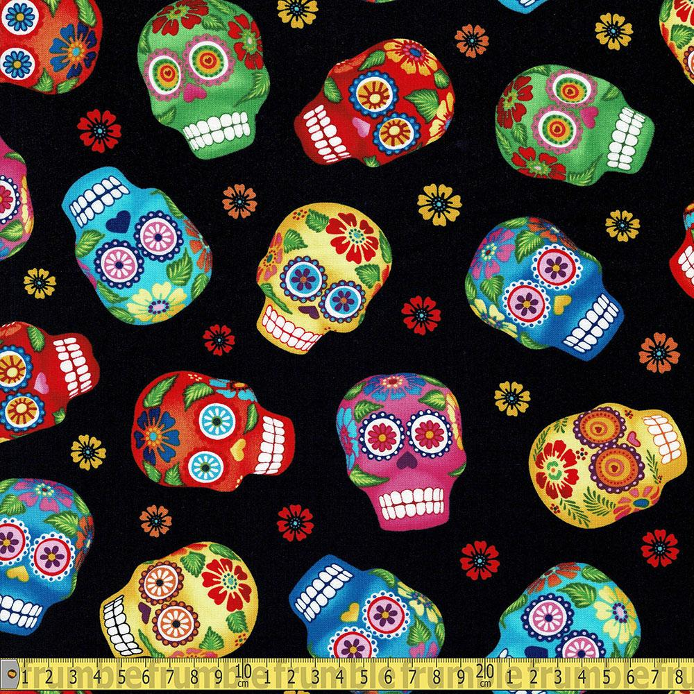 Tossed Sugar Skulls Black Fabric by Timeless Treasures