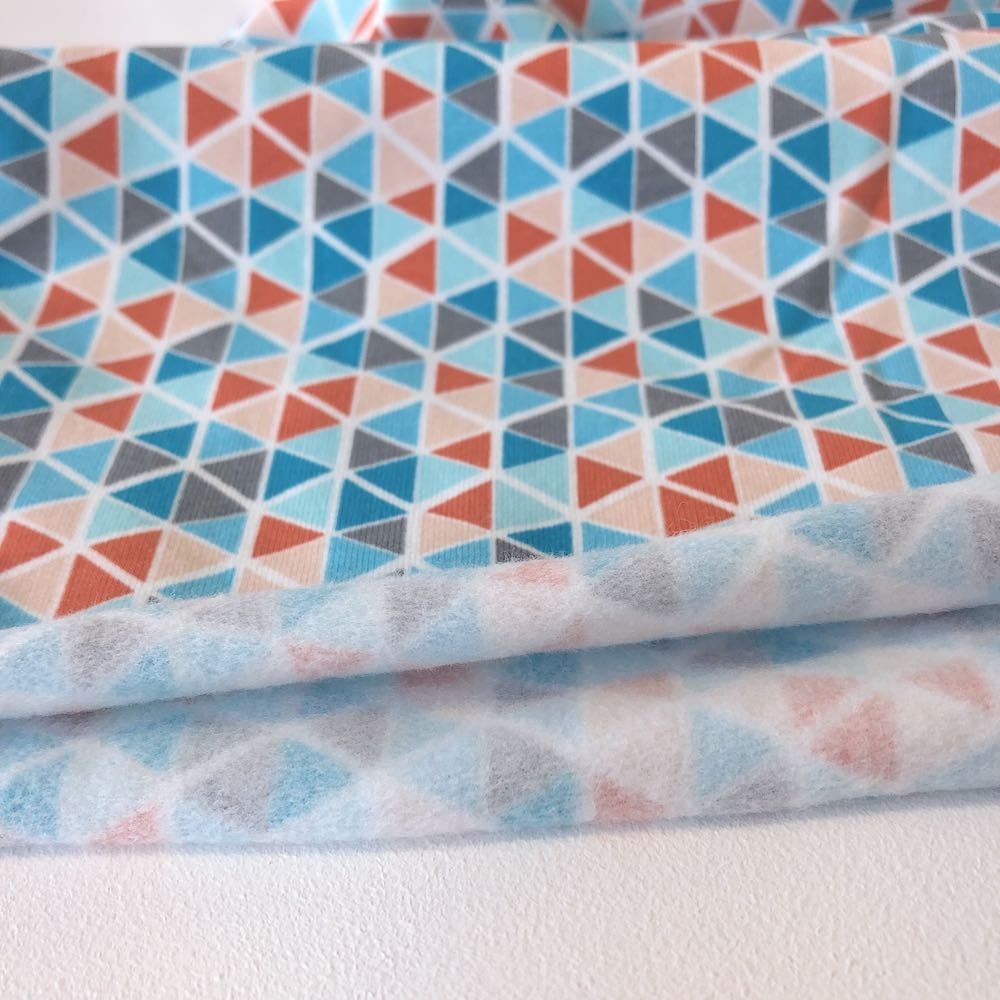 Triangle Mosaic Brushed Back Terry in Blue - Frumble Fabrics