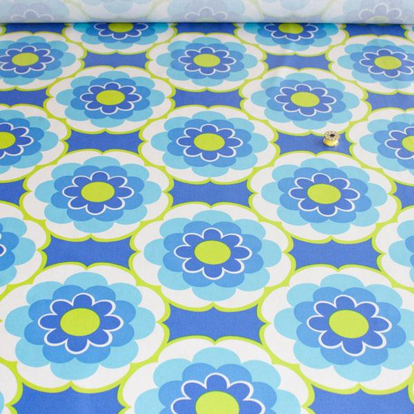 Laminated Fabric - Timeless Treasures Sunny Daze Blue WIDE Fabric by Various