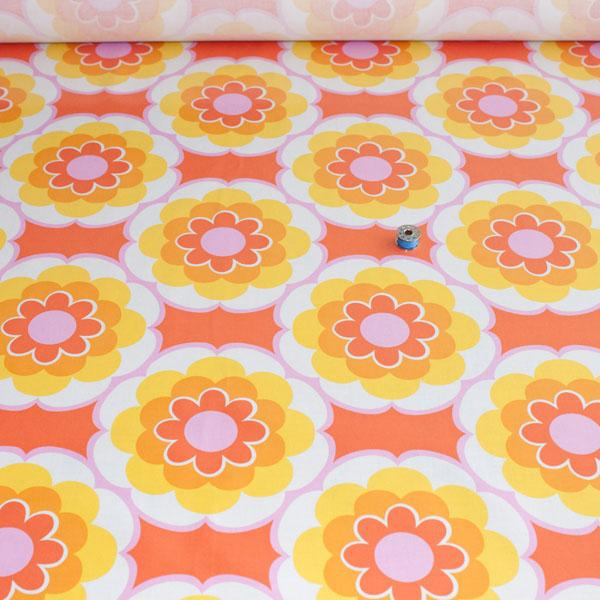 Laminated Fabric - Timeless Treasures Sunny Daze Orange WIDE - Frumble Fabrics