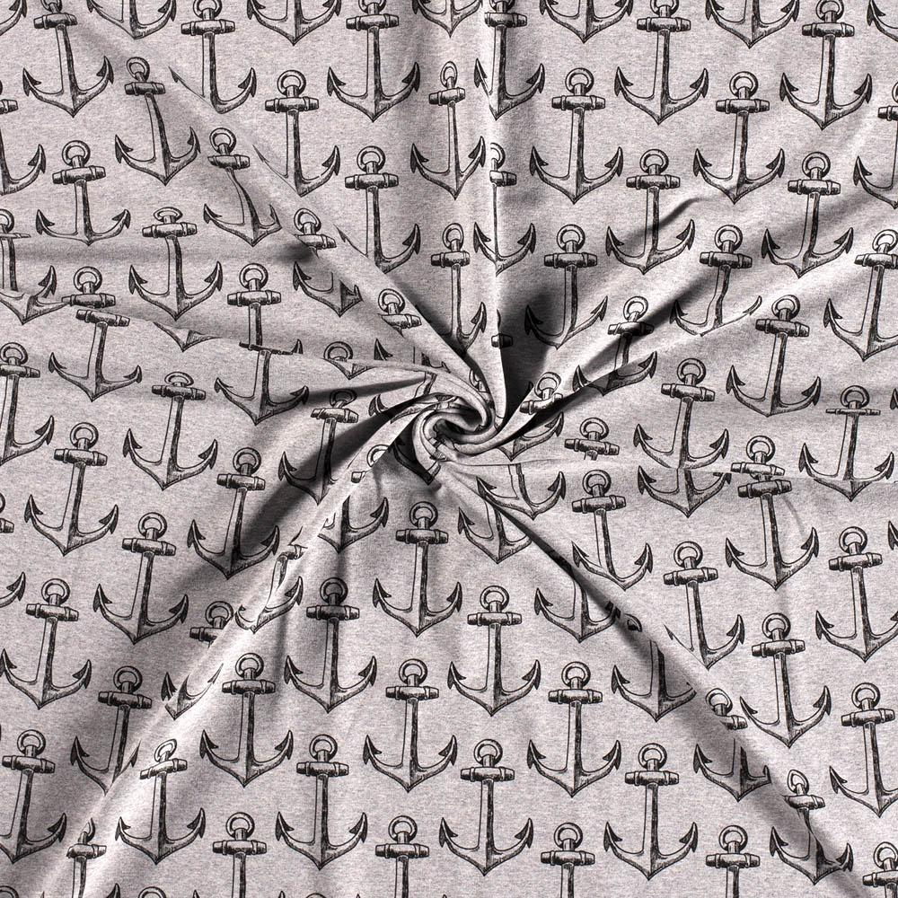 Anchors Melange Grey Printed French Terry Fabric by Various