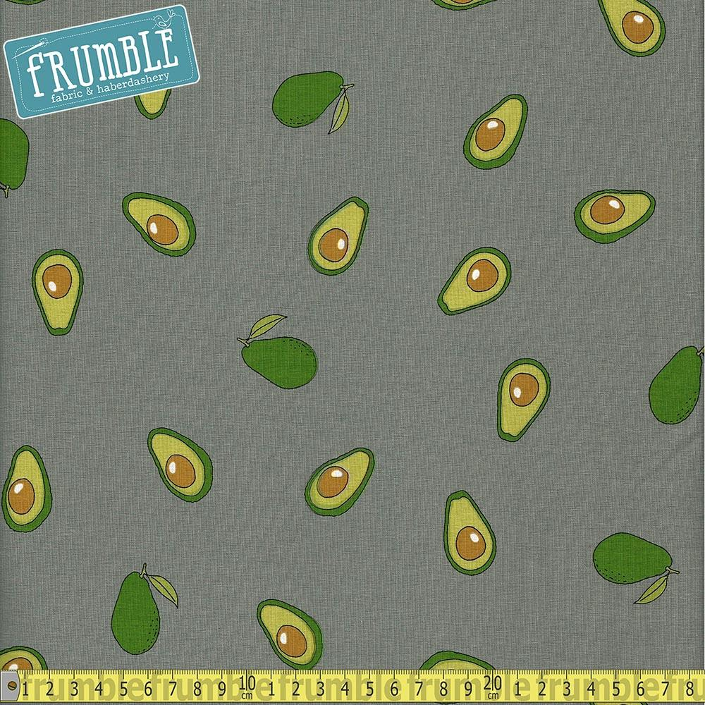 Avocado Toss Grey Jersey Print Fabric by Various