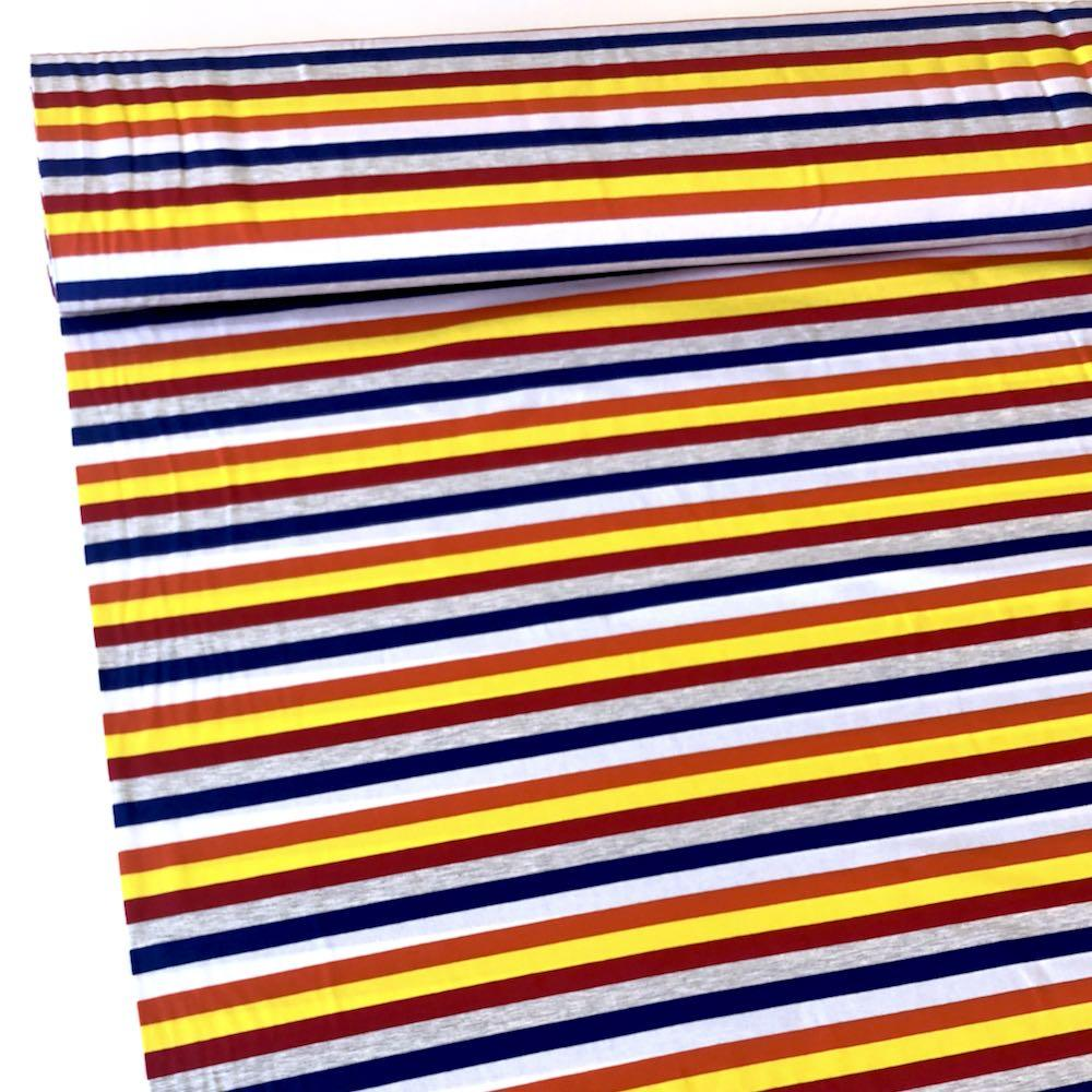 328a5cafda7 Beach Rainbow Stripe Yarn Dyed Jersey Fabric Knit Material