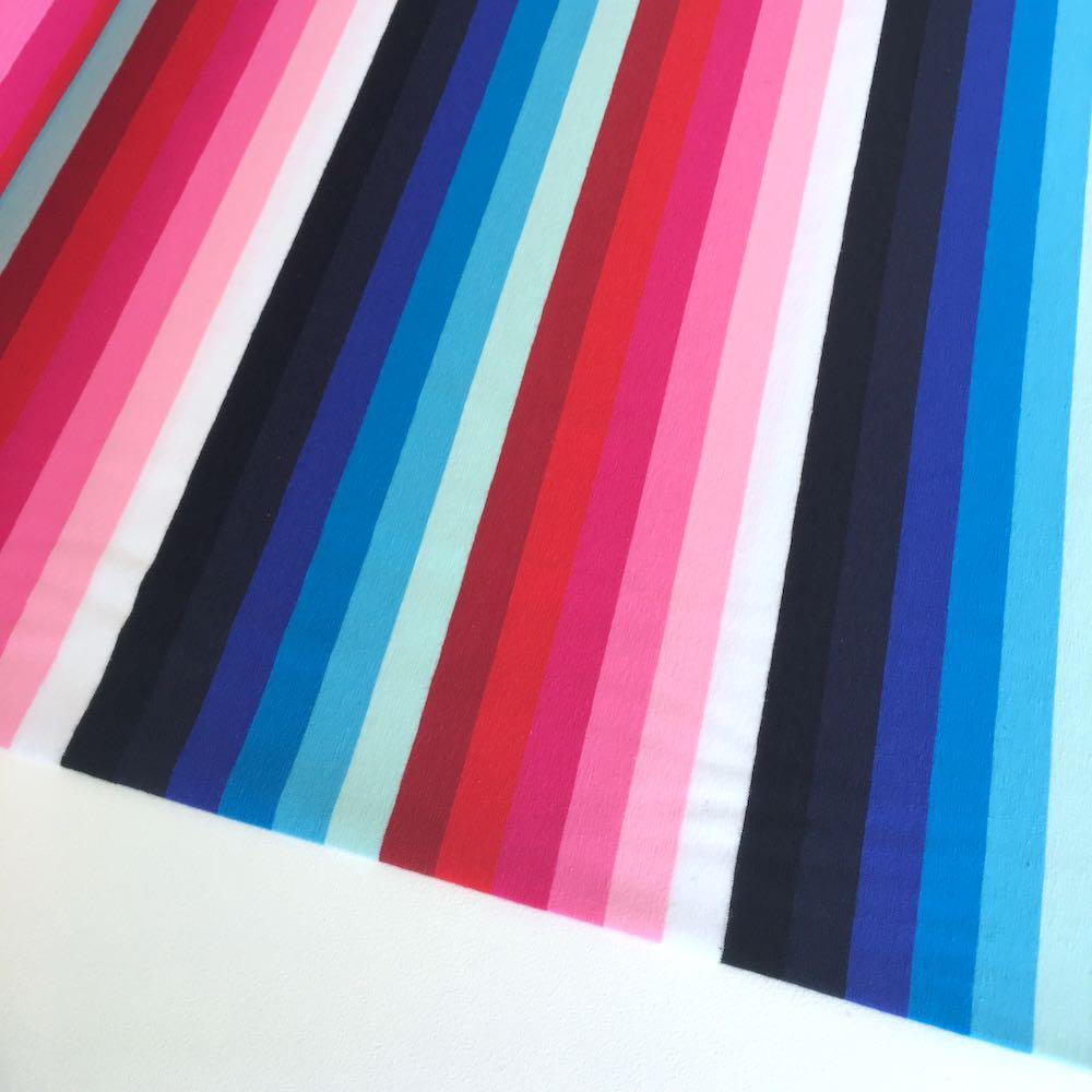 Candy Rainbow Stripe Yarn Dyed Jersey Knit Fabric in Pinks and Blues