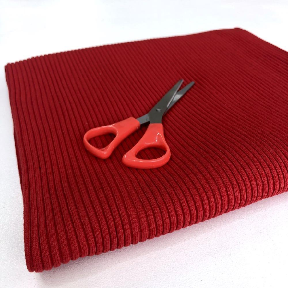 Chunky Cuff Rib Cotton Ribbing Tube Red - Frumble Fabrics