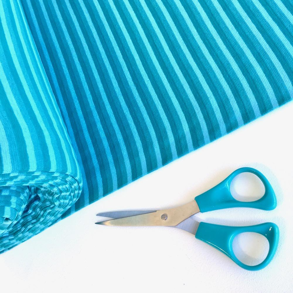 Cool Turquoise Stripe Cotton Ribbing Tube Fabric by Various