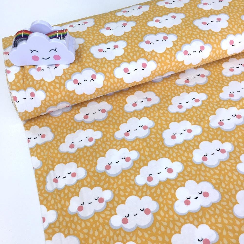 Cute Rain Clouds Printed Jersey Yellow Fabric by Various