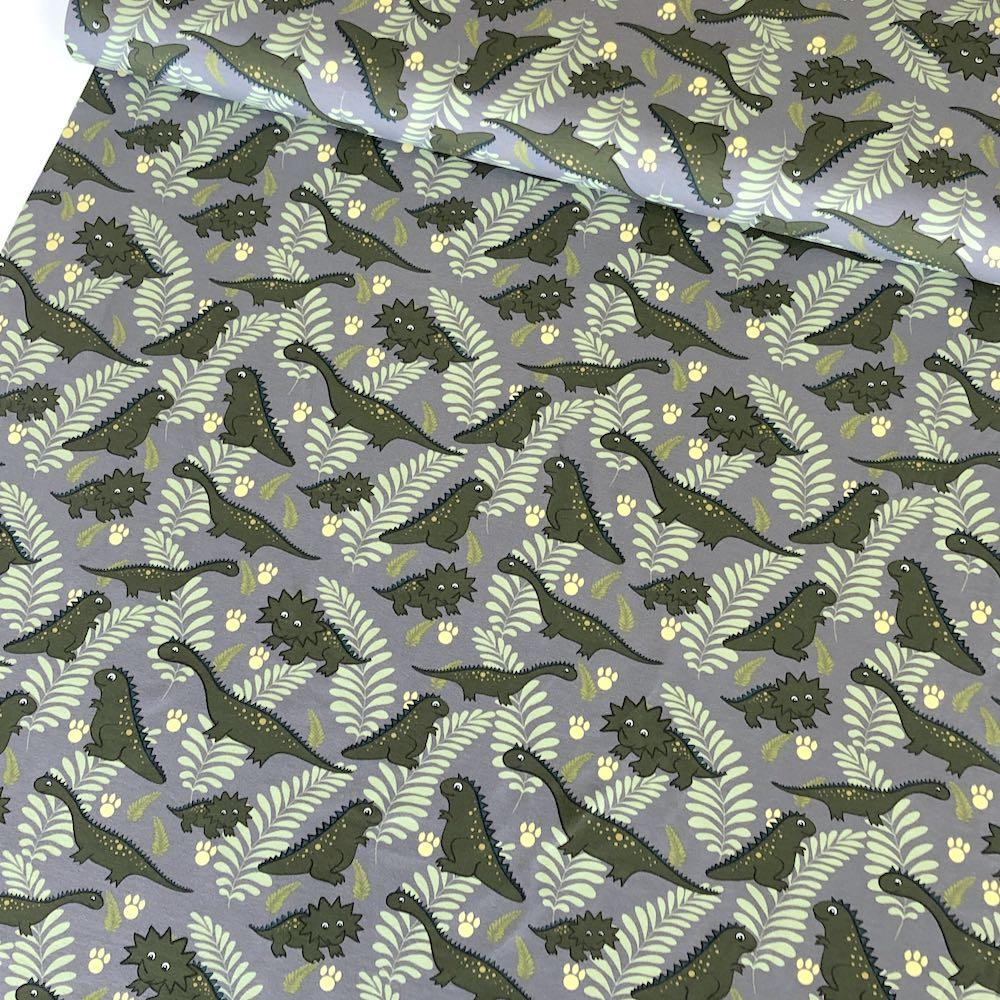 Cutie Dinos And Leaves Grey Jersey Print Fabric by Various