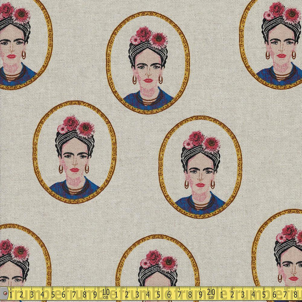 Frida Portrait Folklore Linen Look Half Panama Canvas Fabric - Frumble Fabrics