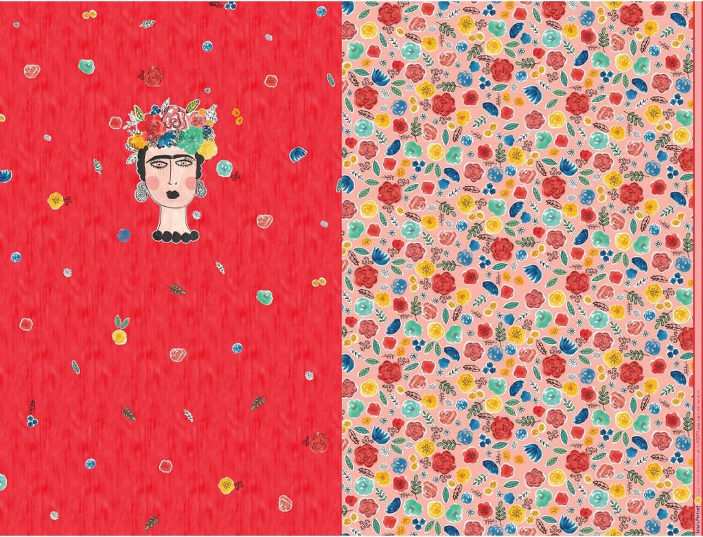 Fridas Portrait Panel Printed Jersey Coral Fabric by Various