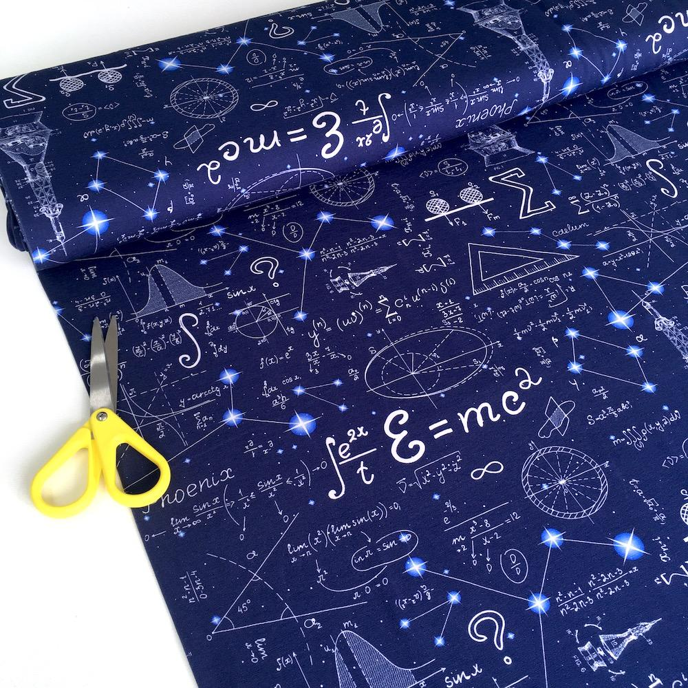 Space Maths Calculations Digital Printed Jersey in Navy - Frumble Fabrics