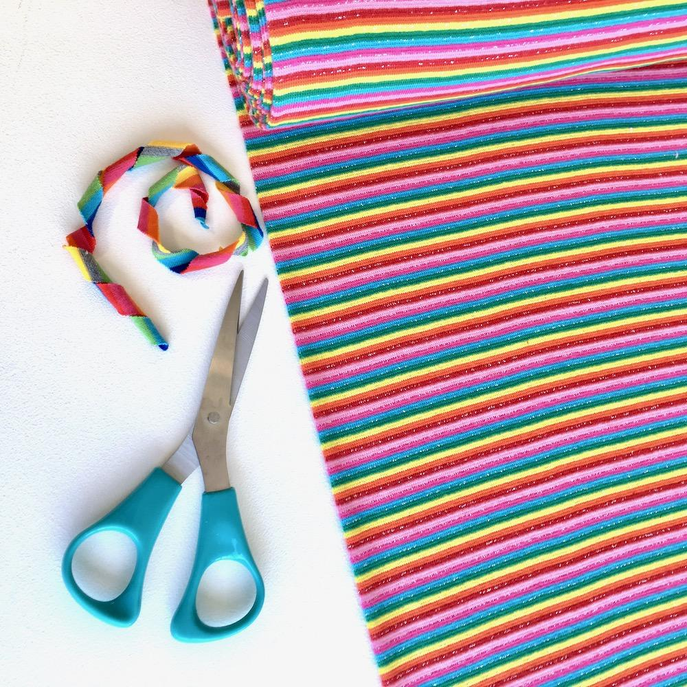 Glitter Rainbow Cotton Ribbing Tube Fabric by Various