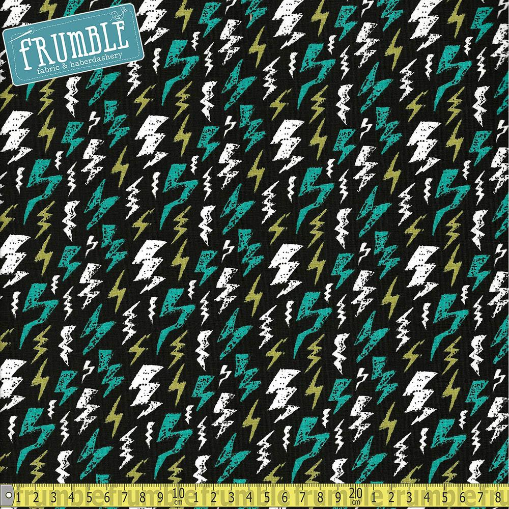 Glow In The Dark Lightning Turquoise Jersey Print - Frumble Fabrics