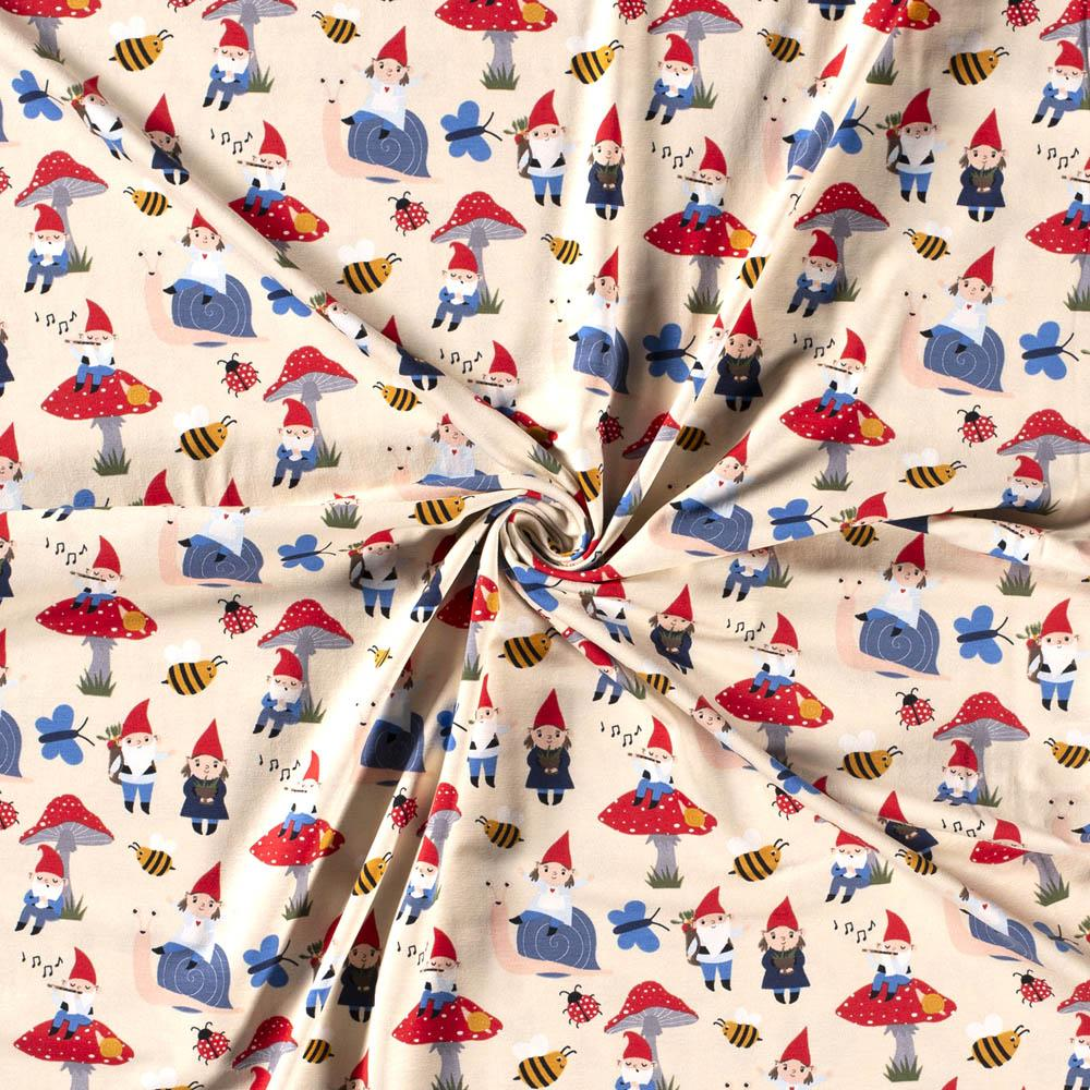 Gnoming Around Cream Jersey Print Fabric by Various