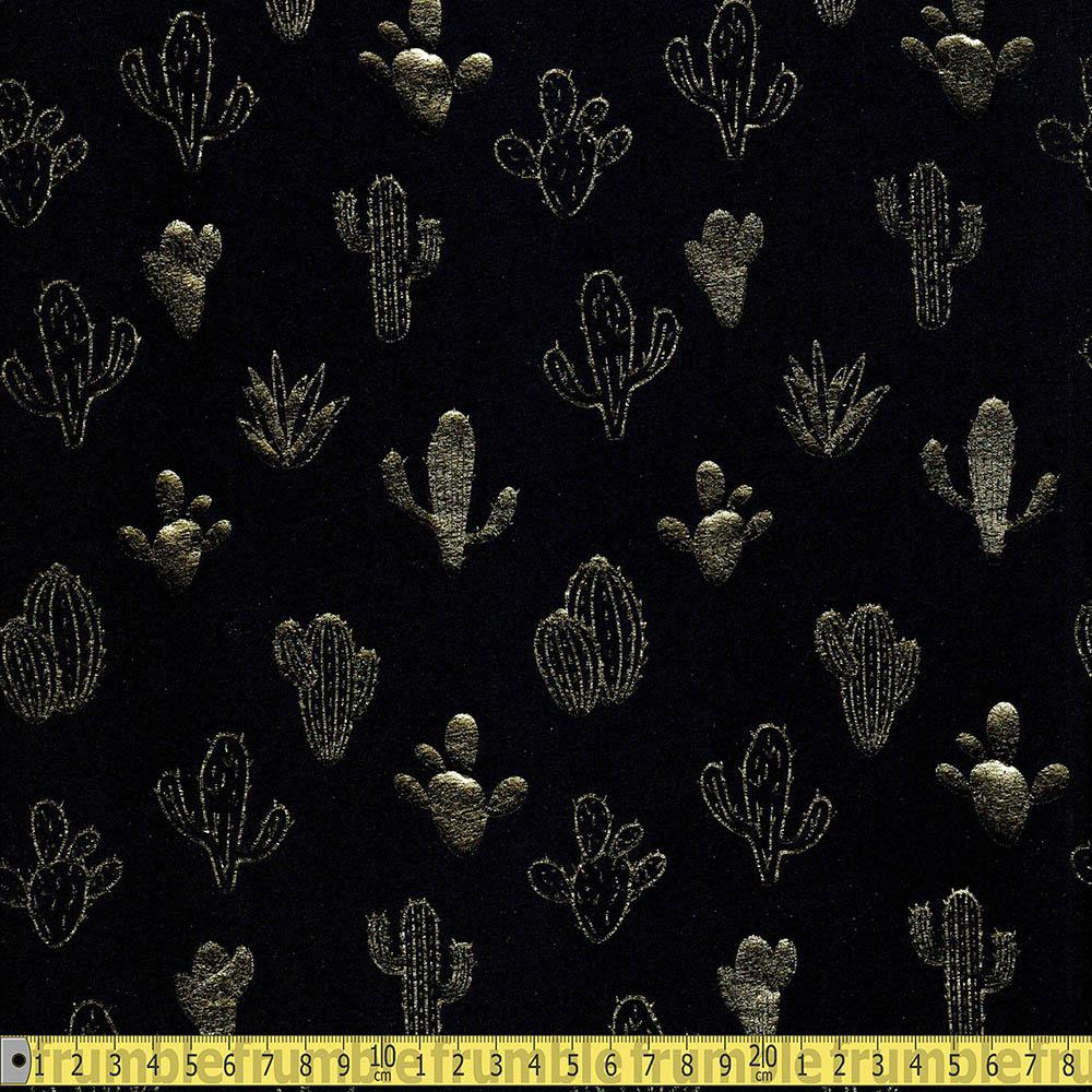 Golden Cactus Metallic Foil Jersey Black Fabric by Various
