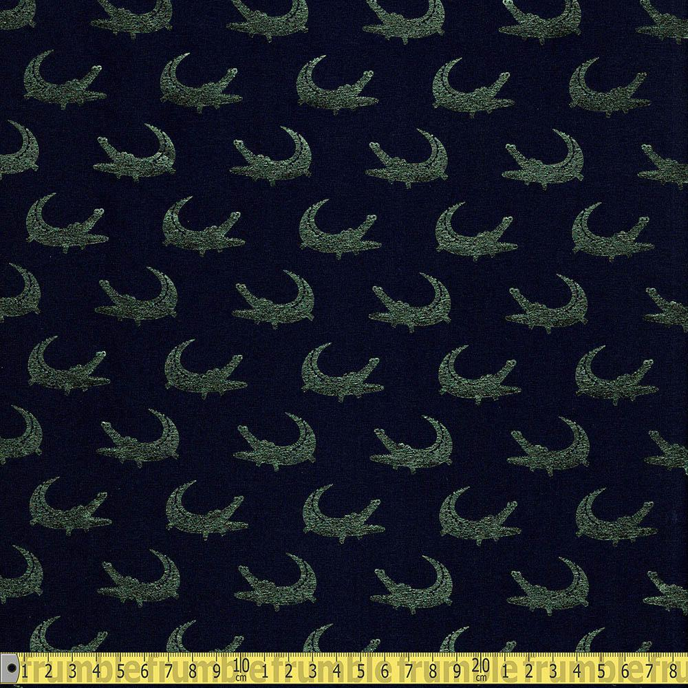 Green Aligator Metallic Foil Jersey Navy Fabric by Various