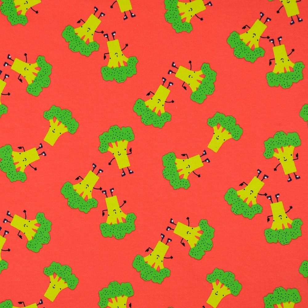 Happy Broccoli Red Jersey Print Fabric by Various