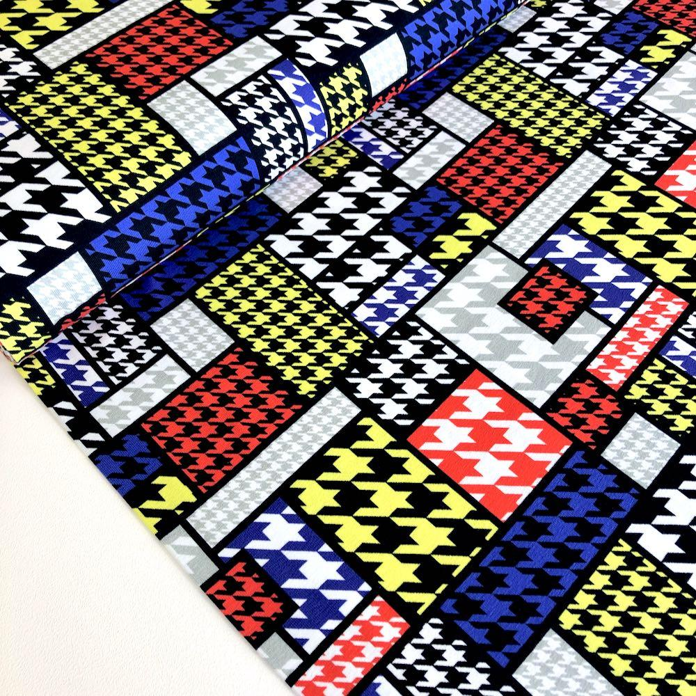 Houndstooth Mondrian Primary Jersey Print Fabric by Various