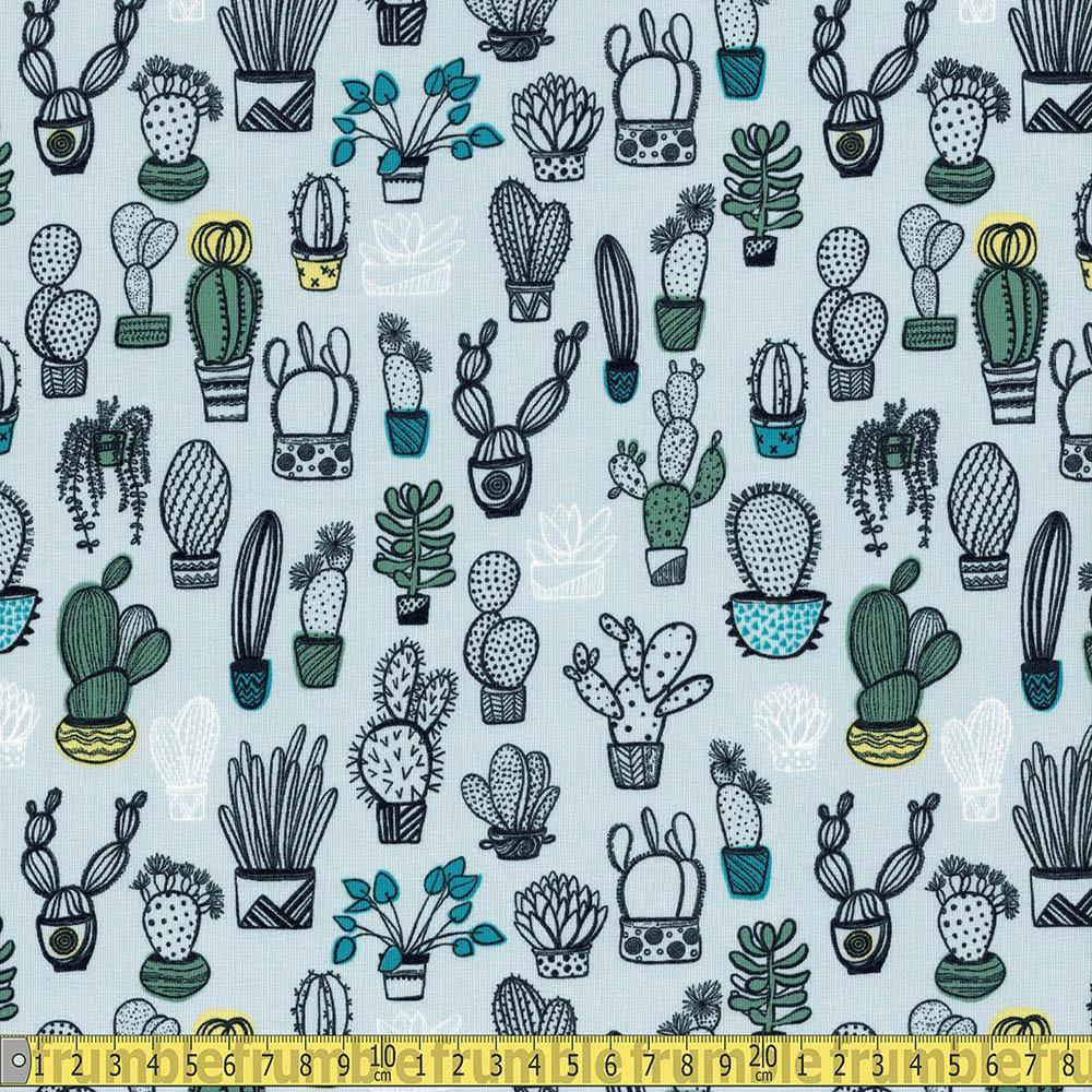 House Plants Light Grey Jersey Print Fabric by Various