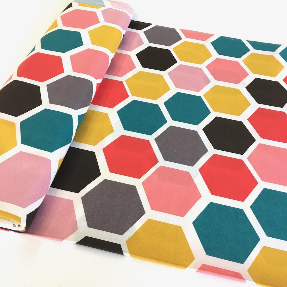Jumbo Hexagon Printed Canvas - Frumble Fabrics