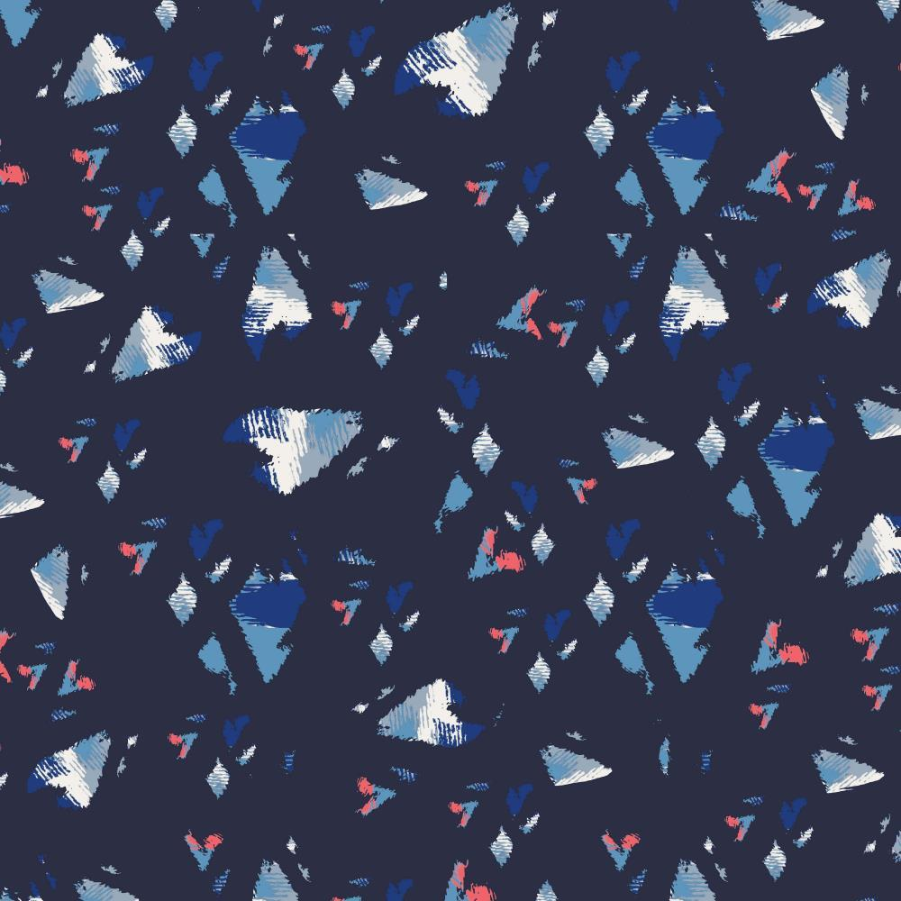 Kaleidoscope Hearts Super Silky Pearl Peach Navy - Frumble Fabrics