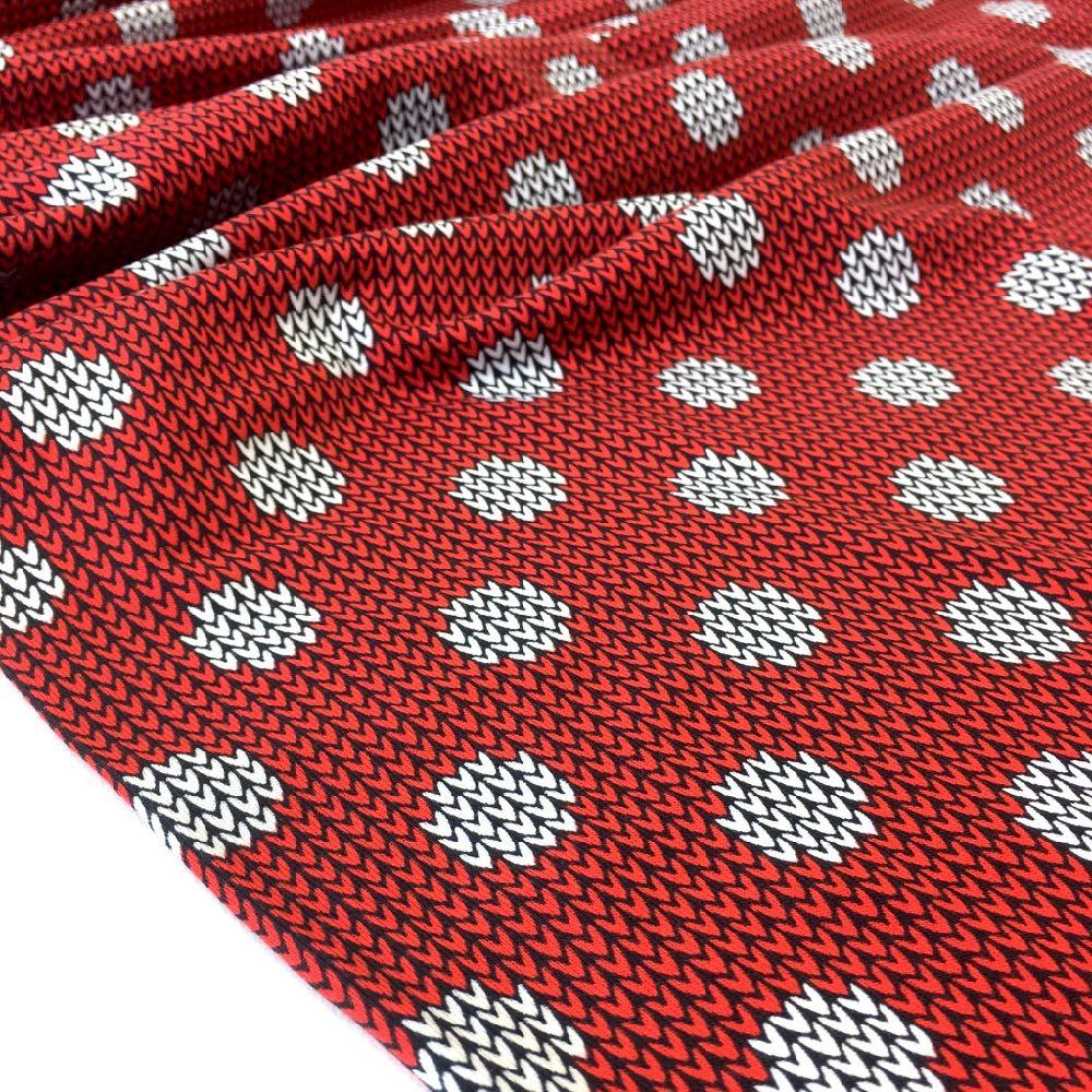 Knit And Purl Dots Red Jersey Print Fabric by Various