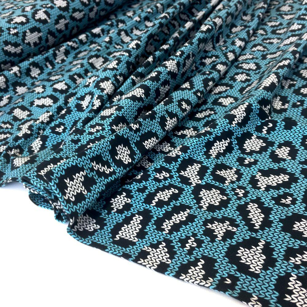 Knit and Purl Leopard Spots Blue Jersey Print - Frumble Fabrics