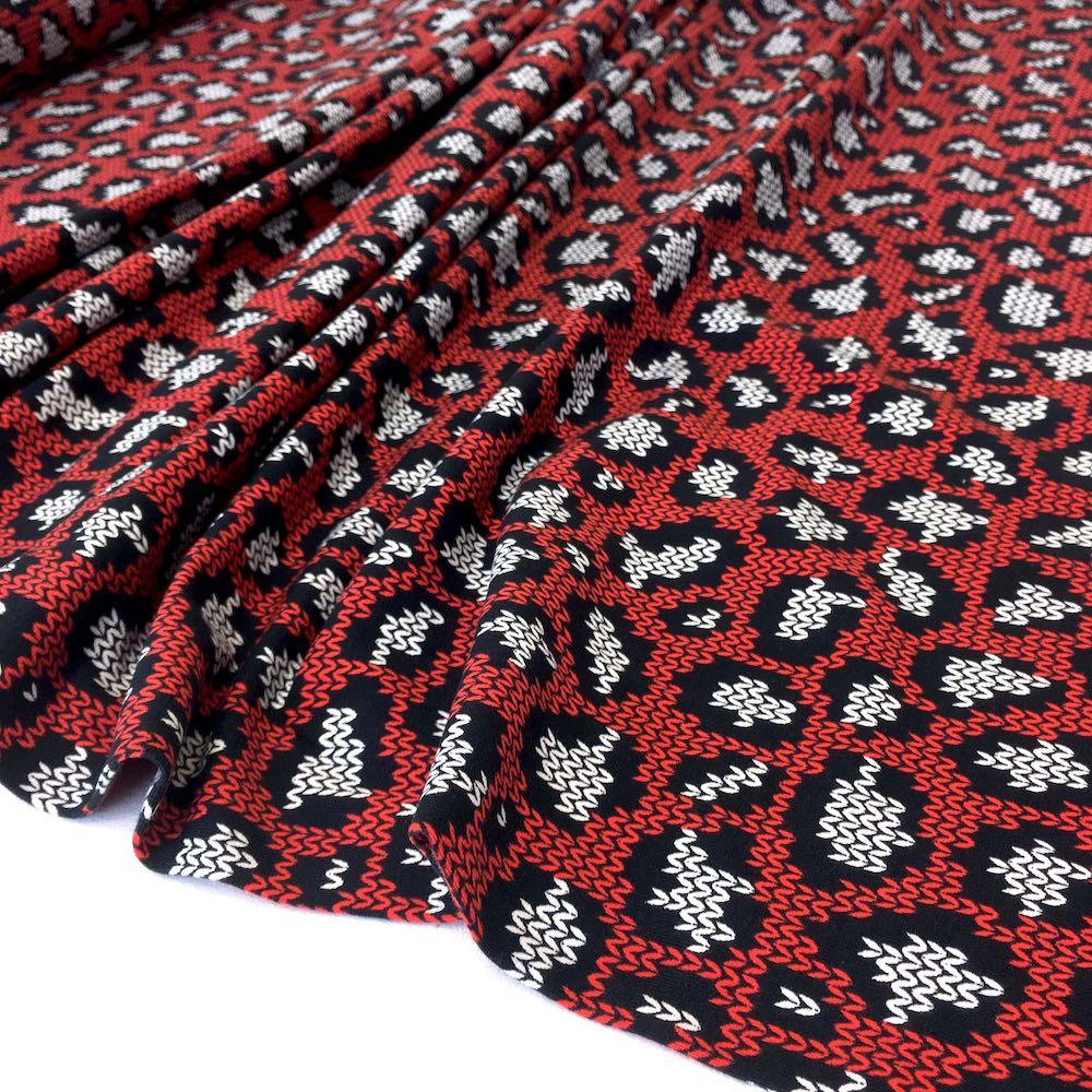 Knit and Purl Leopard Spots Red Jersey Print Fabric by Various