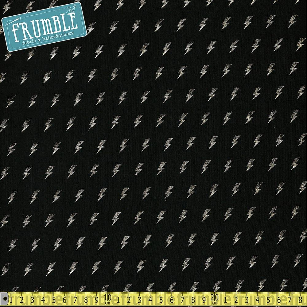 Metallic Lightning Bolt Row Black Foil Jersey - Frumble Fabrics