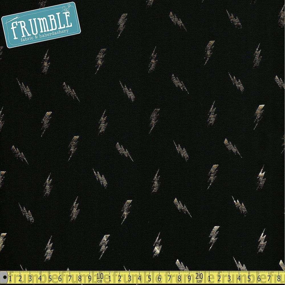 Metallic Lightning Bolt Toss Black Foil Jersey - Frumble Fabrics