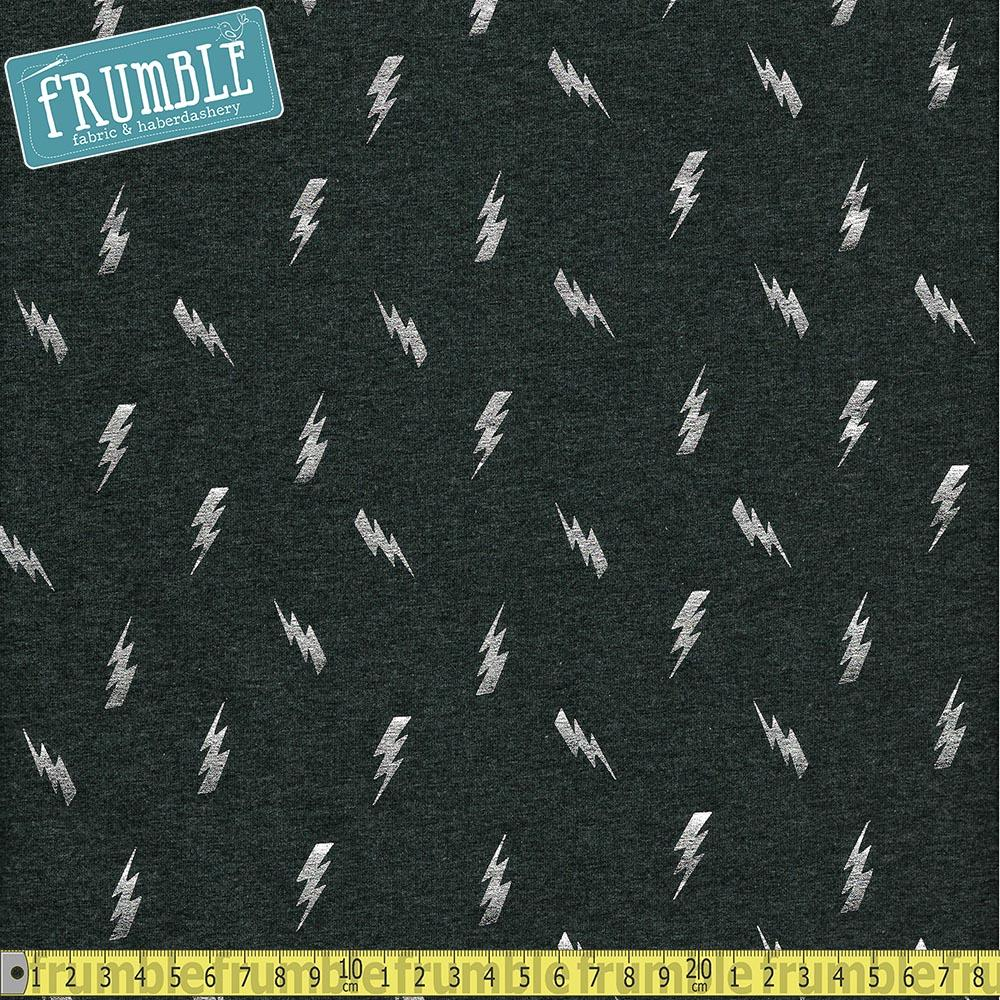 Metallic Lightning Bolt Toss Dark Grey Foil Jersey - Frumble Fabrics