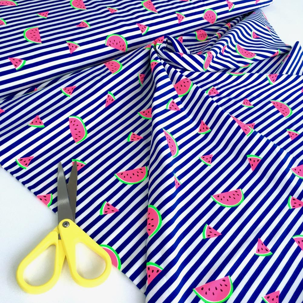 Neon Watermelon Stripe Jersey in Cobalt Blue Fabric by Various