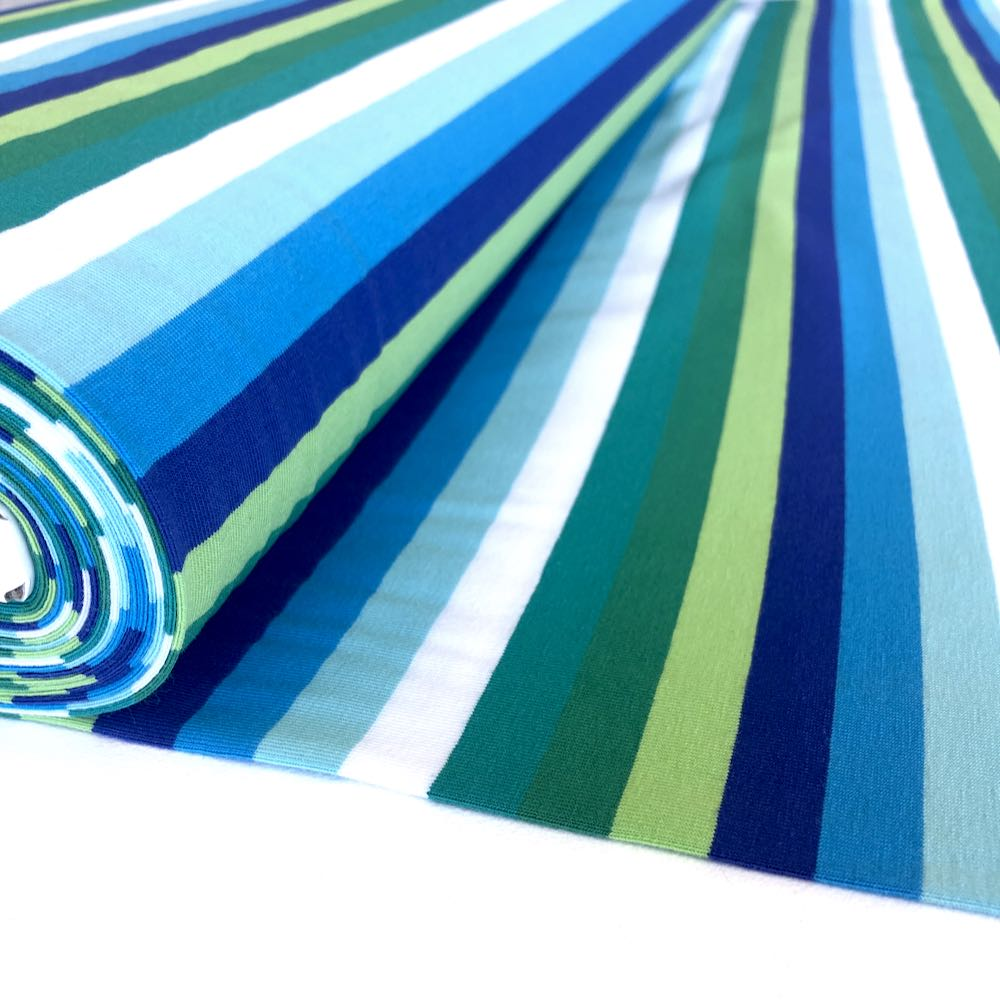 Ocean Rainbow Stripe Yarn Dyed Jersey Fabric Knit